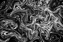 在水的抽象纹理墨水在黑白颜色 库存图片