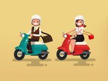 在他们的摩托车的男人和妇女骑马 也corel凹道例证向量 免版税库存照片