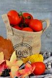在黄麻的有机蕃茄请求与秋叶 库存图片