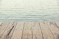 在水的木板条地板 库存照片
