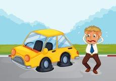 在他的汽车旁边的一个满身是汗的人有泄了气的轮胎的 向量例证