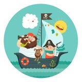 在他们的海盗船的愉快的爸爸和儿子航行 库存例证