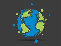 在轻的白色背景隔绝的五颜六色的被加点的几何地球地球球形商业图表 图库摄影