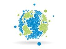 在轻的白色背景隔绝的五颜六色的被加点的几何地球地球球形商业图表 免版税库存照片