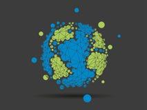 在轻的白色背景隔绝的五颜六色的被加点的几何地球地球球形商业图表 免版税库存图片