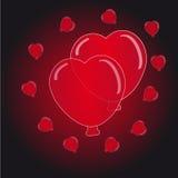 在黑的红色背景的心脏气球 免版税图库摄影