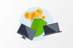 在轻的背景的平的颜色传染媒介例证 概念电子商务 采矿Bitcoin 云彩技术 Virtua 免版税库存图片