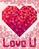 在轻的背景的心脏在几何样式 库存图片