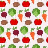 在轻的背景的无缝的纹理新鲜蔬菜食物 库存例证