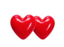在轻的背景的红色心脏 库存照片