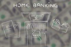 在他的膝上型计算机的银行帐户所有者有在blurr的文本家庭银行业的 图库摄影