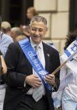在2015的谢尔登银在纽约庆祝以色列游行 免版税库存图片