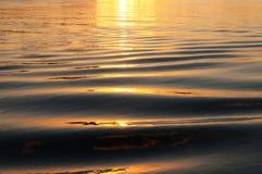 在水的金黄波浪 免版税库存照片