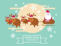 在他的雪橇的圣诞老人飞行 库存照片