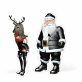 在黑的驯鹿比赛3的圣诞老人 库存照片