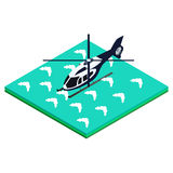 在水的直升机着陆 免版税库存照片
