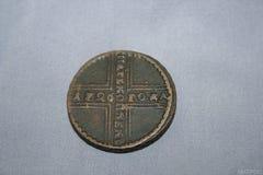 在1726的5科比铸造了在女皇期间叶卡捷琳娜一世王朝铜圈子的与30毫米直径  免版税库存照片