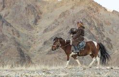 在他的hotse的蒙古游牧人老鹰猎人 库存图片