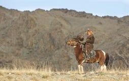在他的hotse的蒙古游牧人老鹰猎人 免版税库存图片