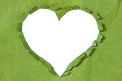在绿皮书的被剥去的心脏 免版税库存图片