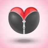 在黑皮革的红色心脏 免版税库存照片