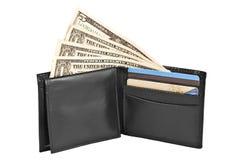 在黑皮革钱包的金钱和信用卡。 免版税库存照片