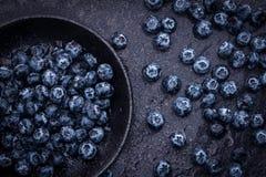 在黑石背景的摘的蓝莓 免版税库存图片