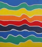在6种不同颜色的波浪垂直的木板条 免版税库存照片