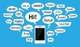 介绍在24种语言的词与闲谈起泡 免版税库存照片