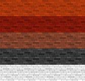 在5种颜色的无缝的砖样式 免版税库存照片