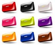 在9种颜色的钱包 免版税库存图片