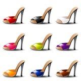 在9种颜色的高跟鞋凉鞋 图库摄影