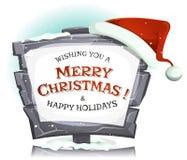 在滑稽的石标志的圣诞老人帽子 库存图片