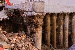 在建筑地区的山崩 免版税库存照片