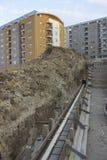 在建筑工地的新的基础 免版税库存照片