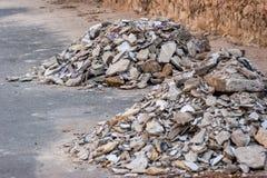 在建筑的具体瓦砾残骸 免版税库存图片