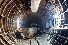 在建筑进展的地铁隧道 图库摄影