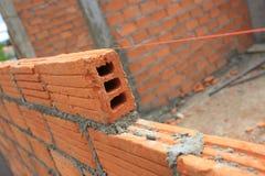 在建筑建筑业的砖块 免版税库存图片