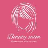 在绯红色背景的美容院商标 库存照片