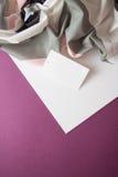 在绯红色背景的衣裳标签 免版税库存照片