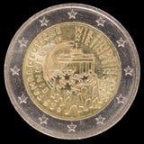 在2015年纪念两欧元硬币由德国和commem发布了 免版税库存照片