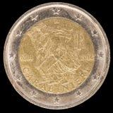 在2014年纪念两欧元硬币由意大利和commemor发布了 库存图片