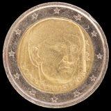 在2013年纪念两欧元硬币由意大利和commemor发布了 库存照片