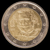 在2013年纪念两欧元硬币由意大利和commemor发布了 库存图片