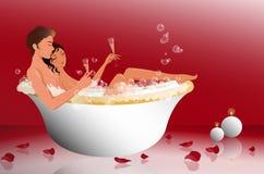 在浴缸的浪漫夫妇 免版税库存照片