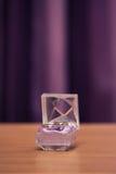 在紫罗兰色箱子的婚戒 免版税图库摄影