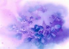 在紫罗兰色背景水彩的蓝色hepatica 免版税库存照片