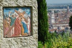 在维罗纳上的基督徒壁画 免版税库存图片