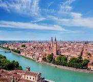 在维罗纳的历史部分的看法 库存照片