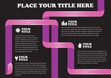 在黑背景传染媒介设计的流行粉红丝带页的Layou 免版税图库摄影